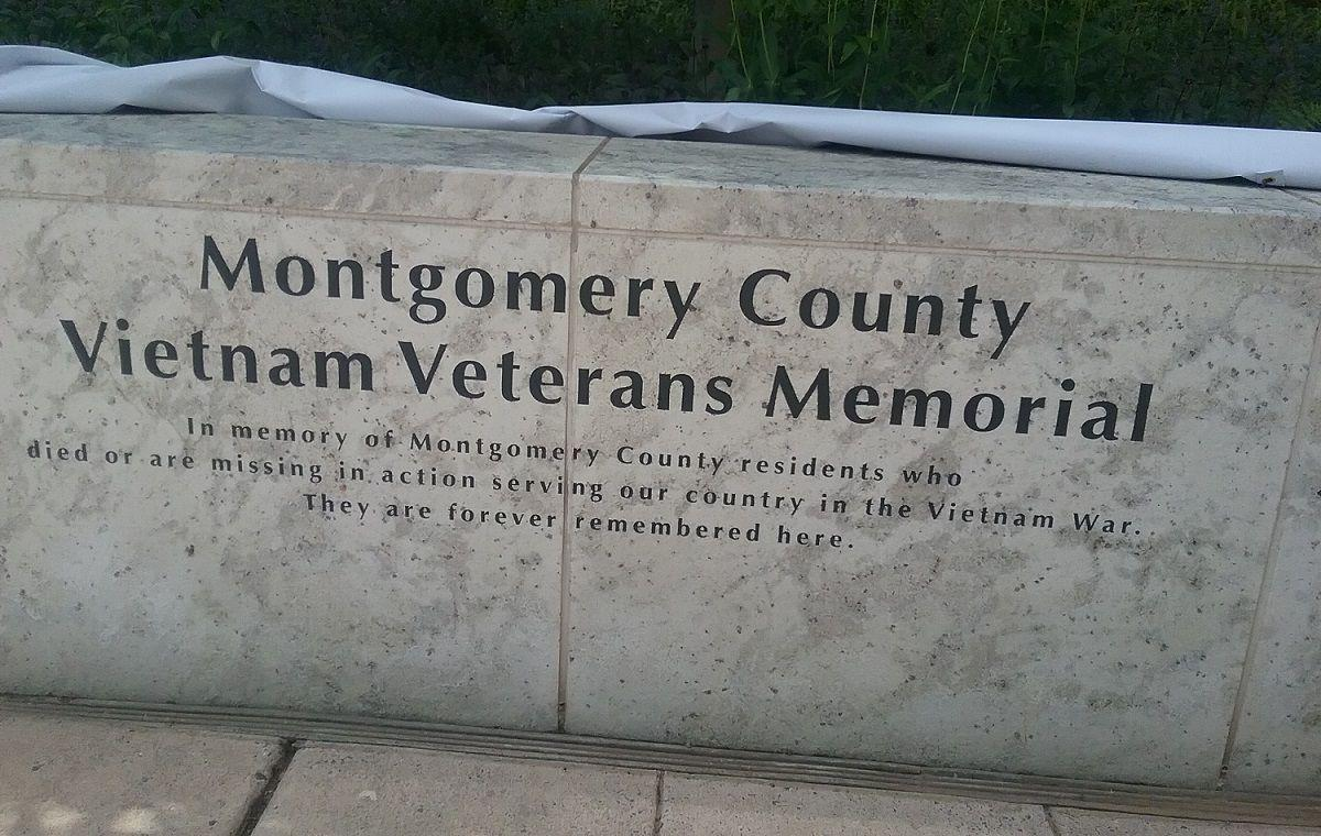 Montgomery County's Vietnam Veterans Memorial wall was unveiled at Memorial Plaza in Rockville Monday afternoon. PHOTO BY SUZANNE POLLAK