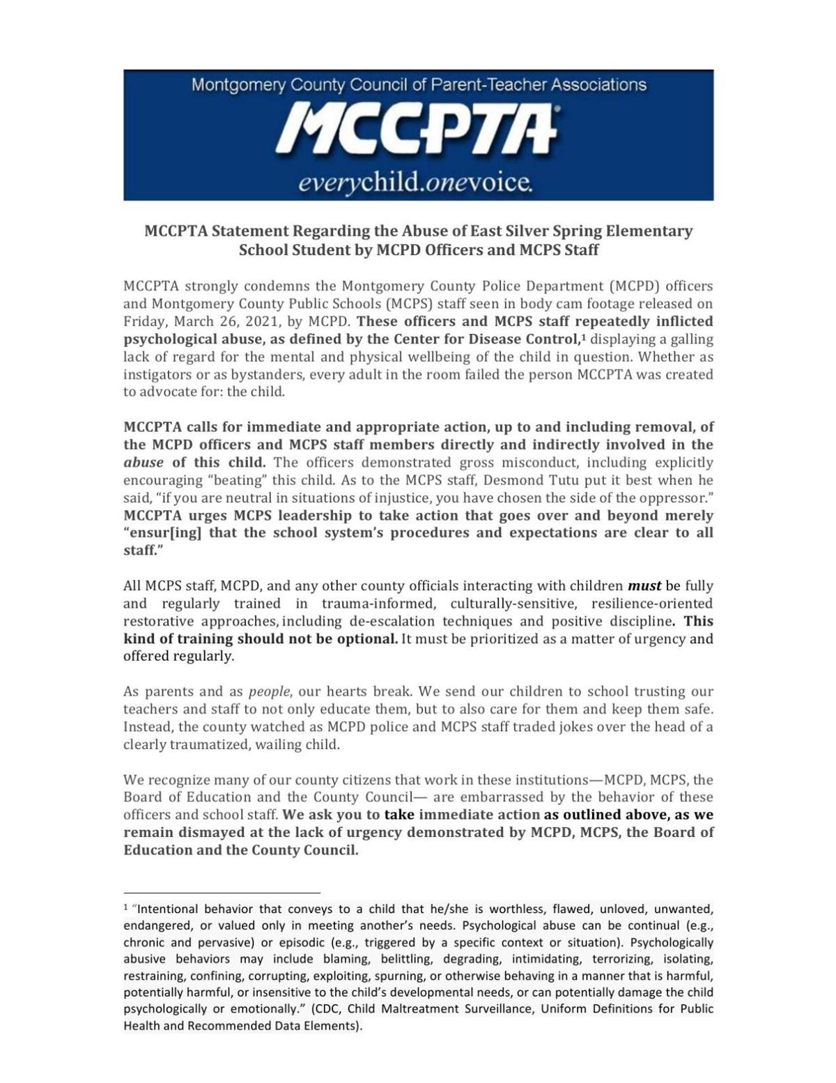 MCCPTA Statement Regarding the Abuse of East Silver Spring Elementary School Student by MCPD Officers and MCPS Staff