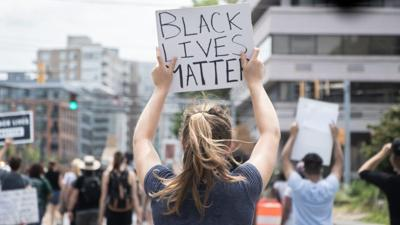 'Black Lives Matter' sign at a protest in Silver Spring
