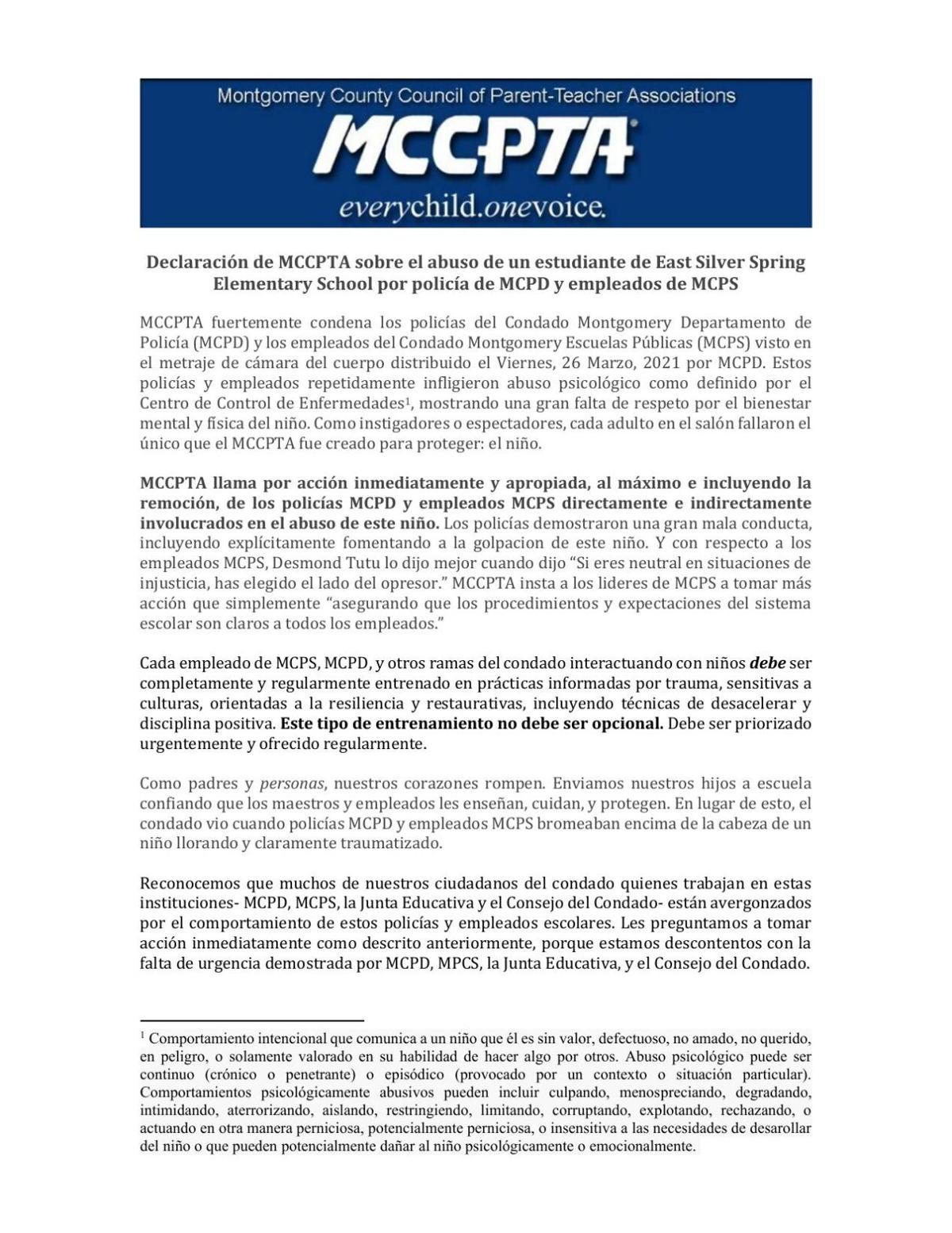 (Español) MCCPTA Statement Regarding the Abuse of East Silver Spring Elementary School Student by MCPD Officers and MCPS Staff