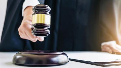 Judge courtroom gavel stock