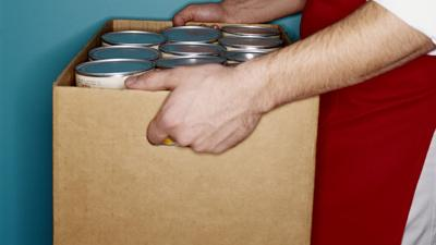 Food cans stock