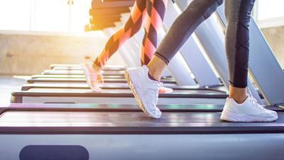 exercise running on treadmill stock