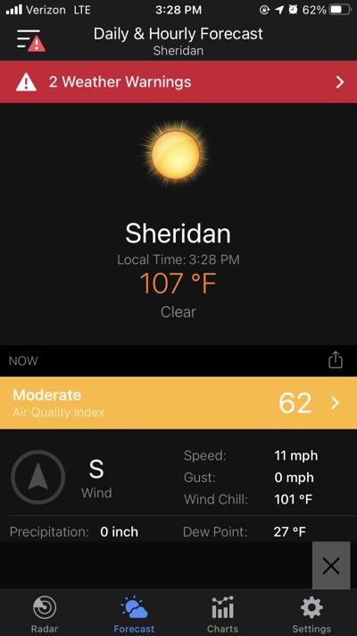 sheridan record-setting heat 107 degrees