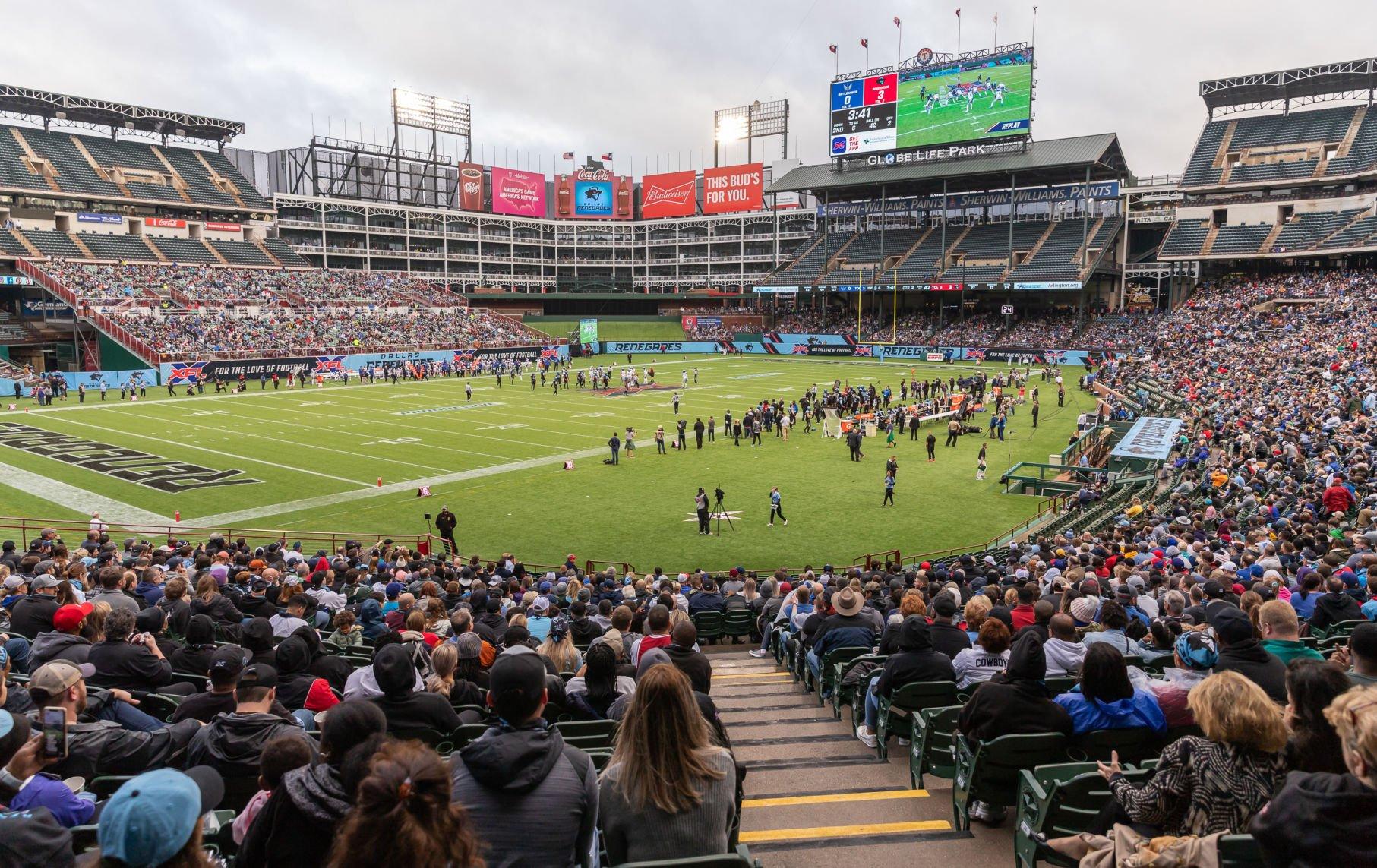 Globe Life Park becomes a football stadium as the XFL comes to Arlington