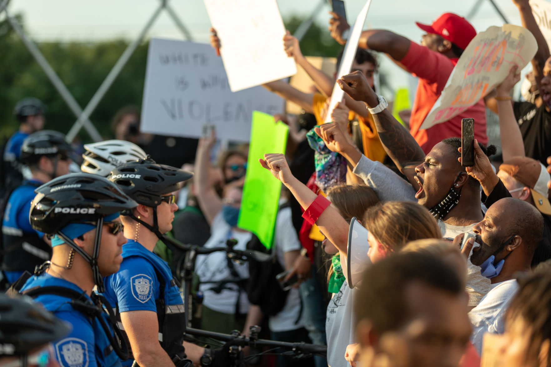 Photos: Demonstrators occupy West Seventh Street bridge during 3rd night of Fort Worth protests