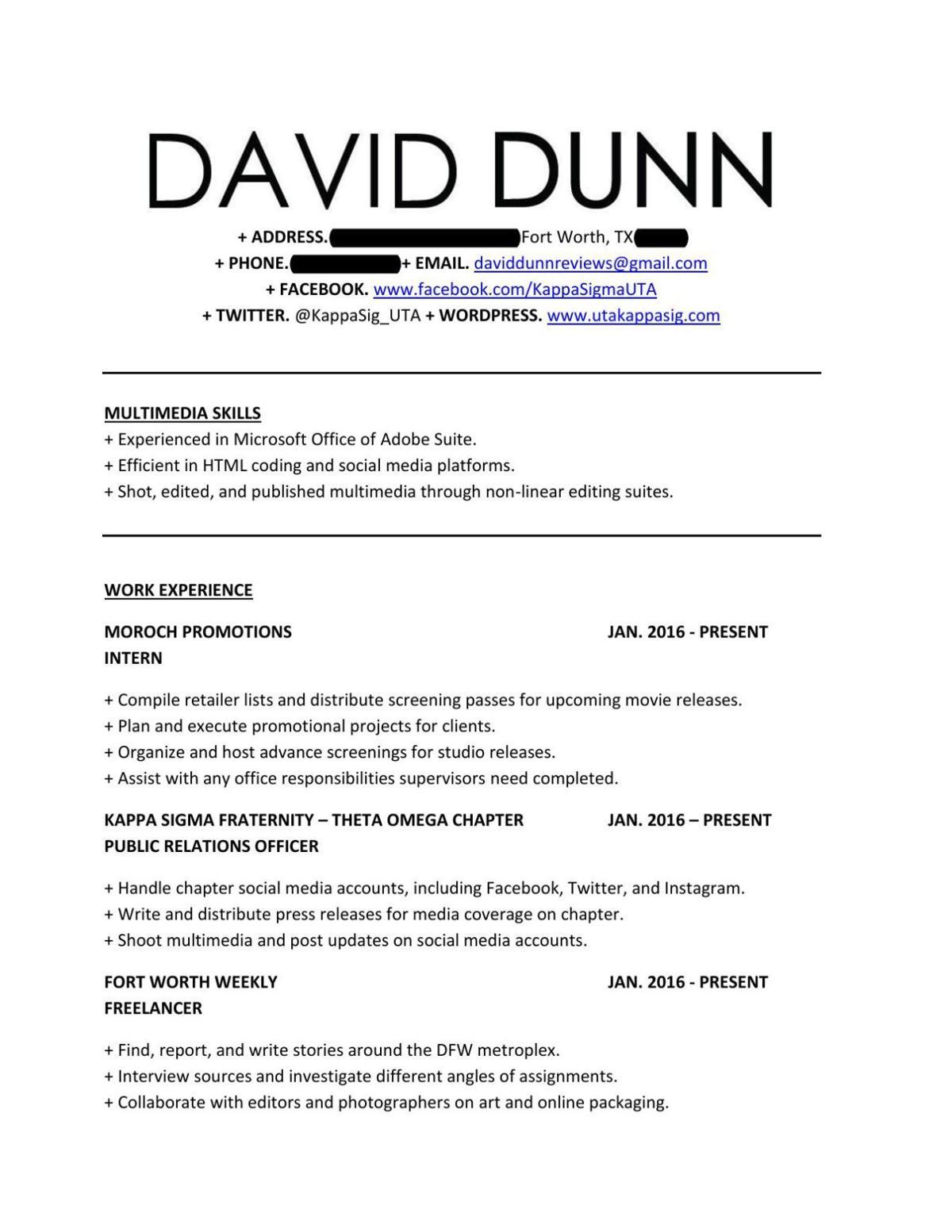 David Dunn's Resume