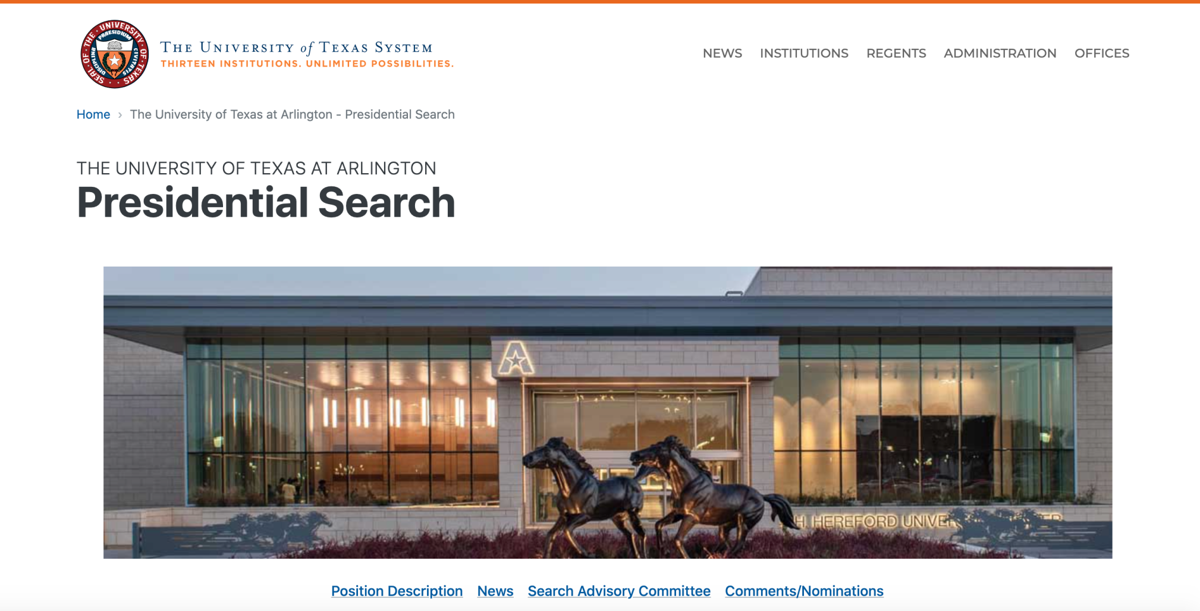UT System launches UTA presidential search website