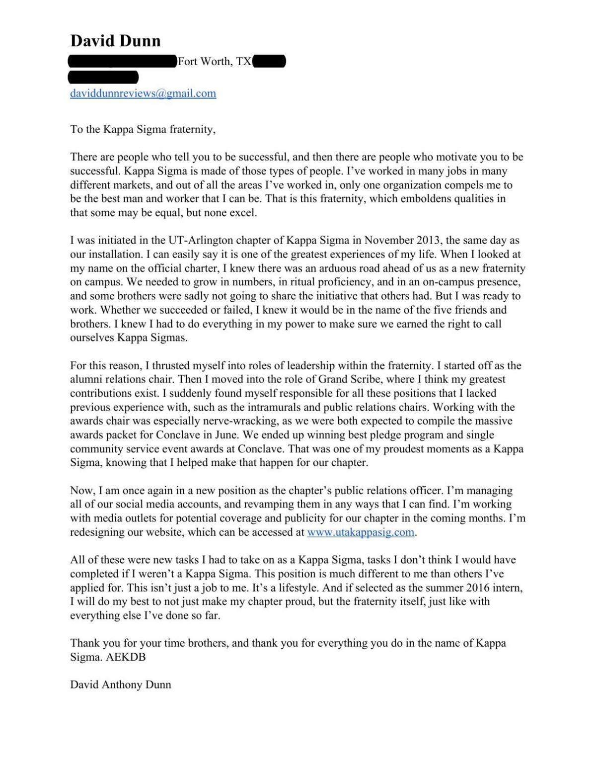 Kappa Sigma Cover Letter