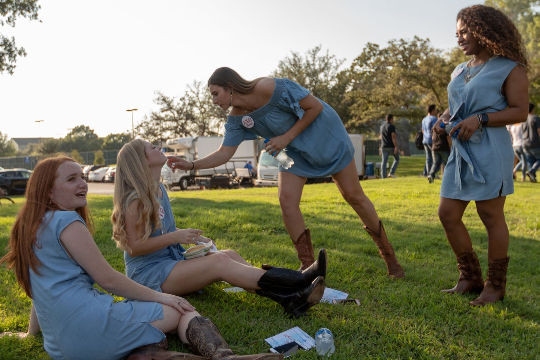Students relax at Welcome Back BBQ