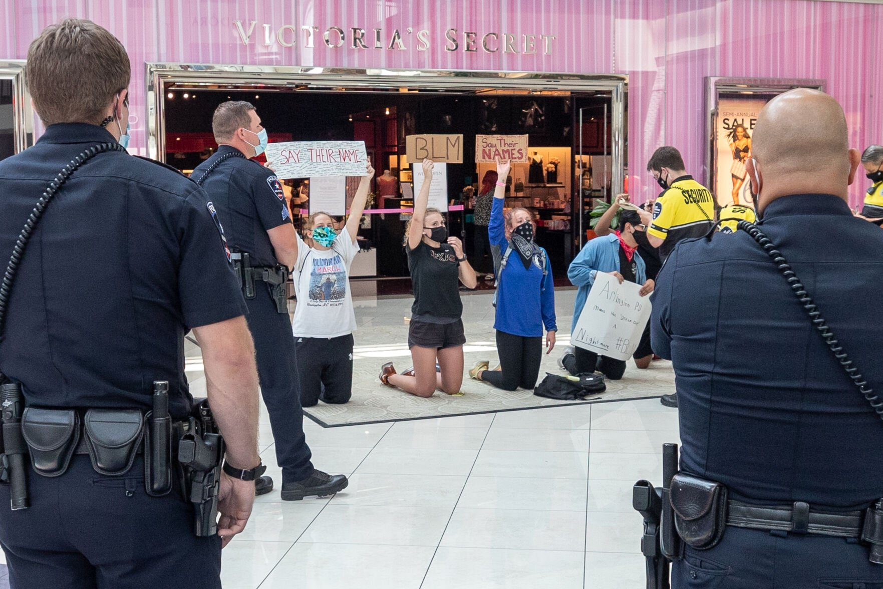 Photos: Protesters kneel for Black Lives Matter movement inside The Parks Mall at Arlington
