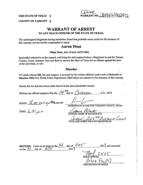 Warrant of Arrest — Aaron Dean