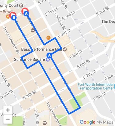 Fort Worth March route