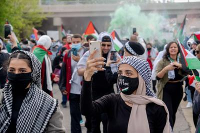 Community protests Israeli attacks on Palestinians