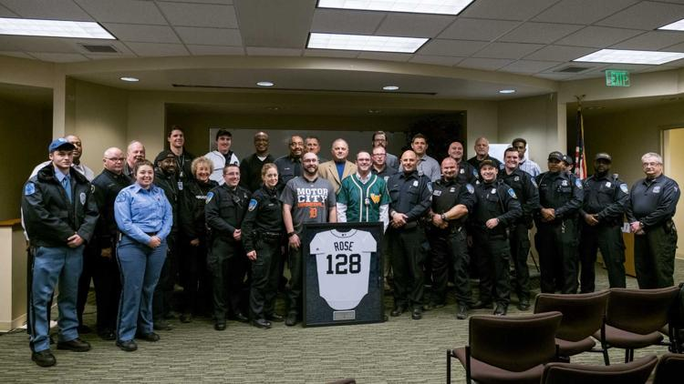 Wayne State Police Department poses with the Tigers for a group photo