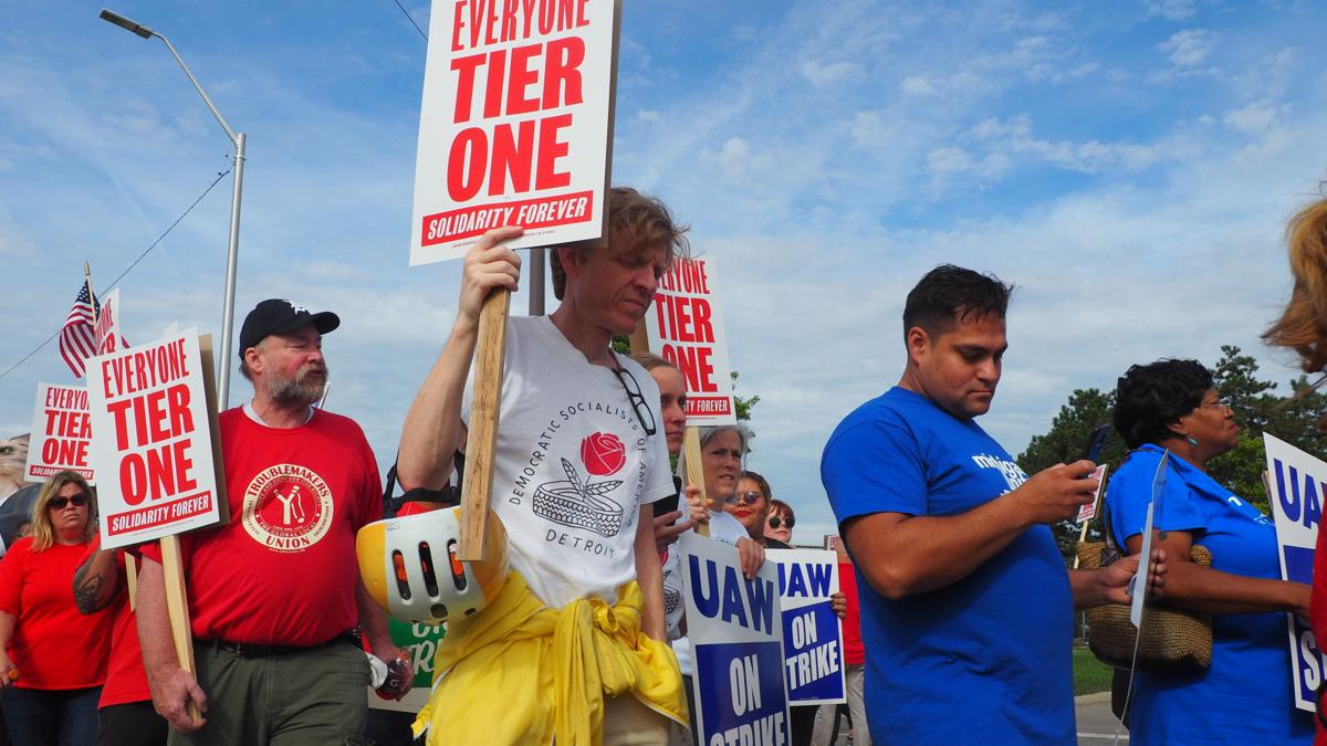 GM workers striking at Hamtramck plant