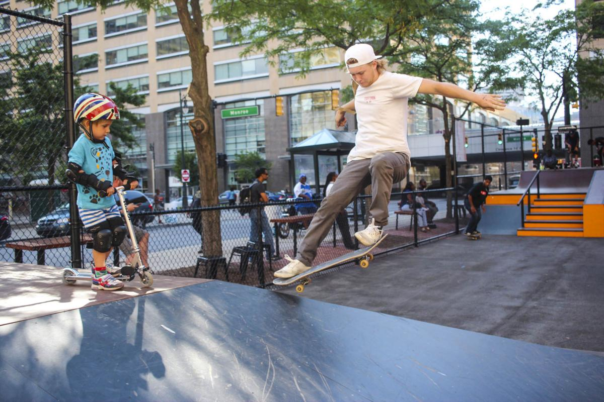 Skaters from metro Detroit gather to try out a new skate park designed by Tony Hawk and Ryan McGinness.