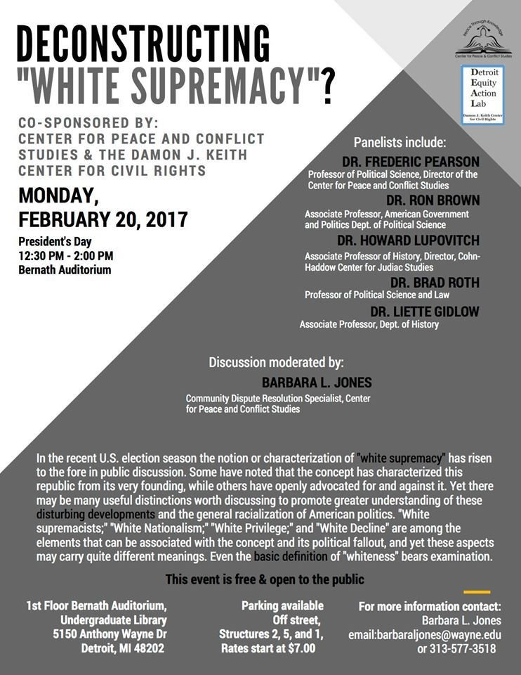 """WSU needs more events like 'Deconstructing White Supremacy' as a reminder to people about the history of USA and how there is no real American."""