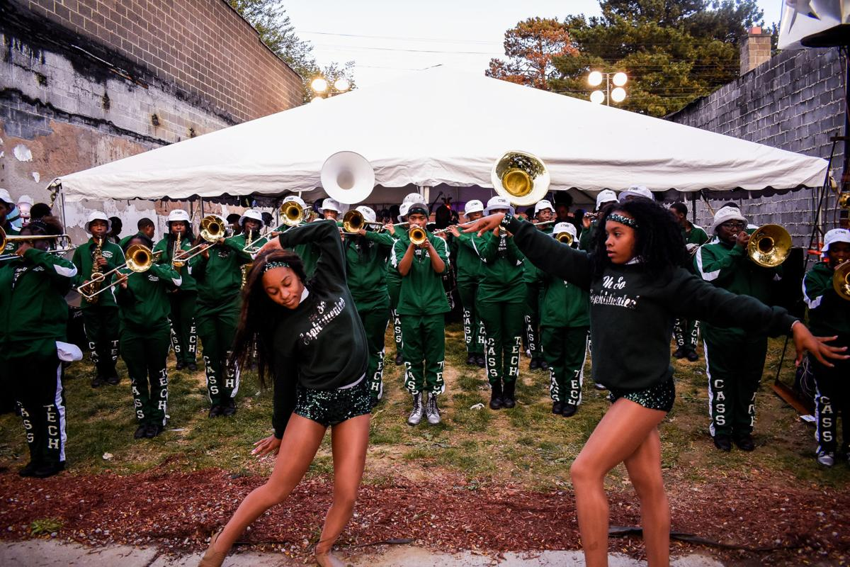Cass Technical High School Marching Band performing.