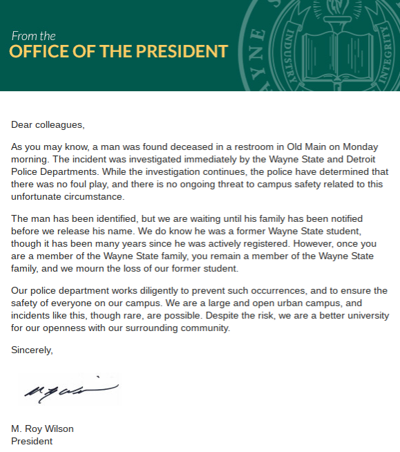 Statement from president's office