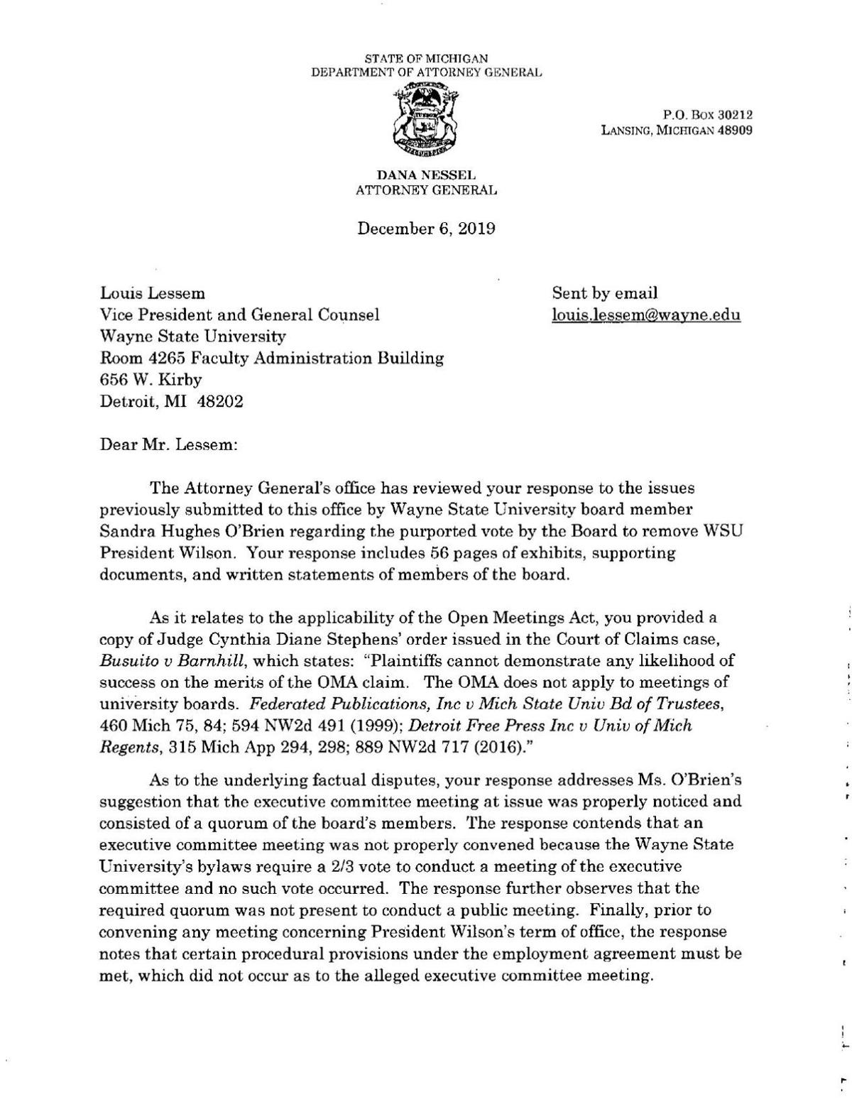 Letter from attorney general's office