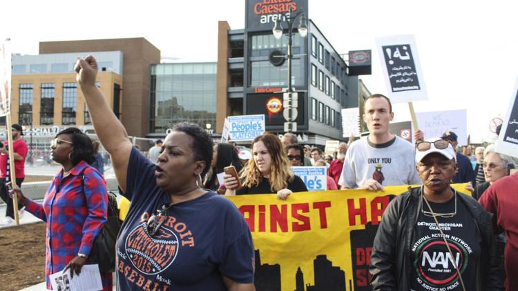 Kid Rock protest outside Little Caesar's Arena