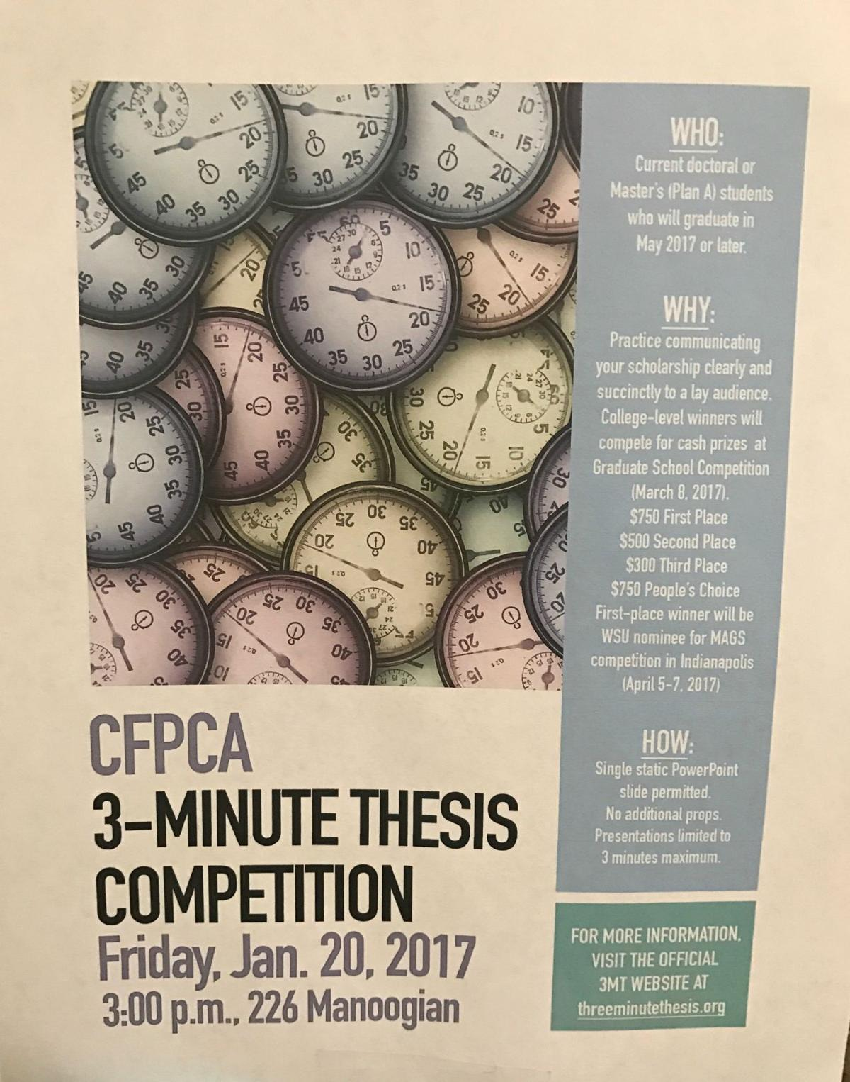 """The competition supports their capacity to effectively explain their research in three minutes, in a language appropriate to a non-specialist audience,"""
