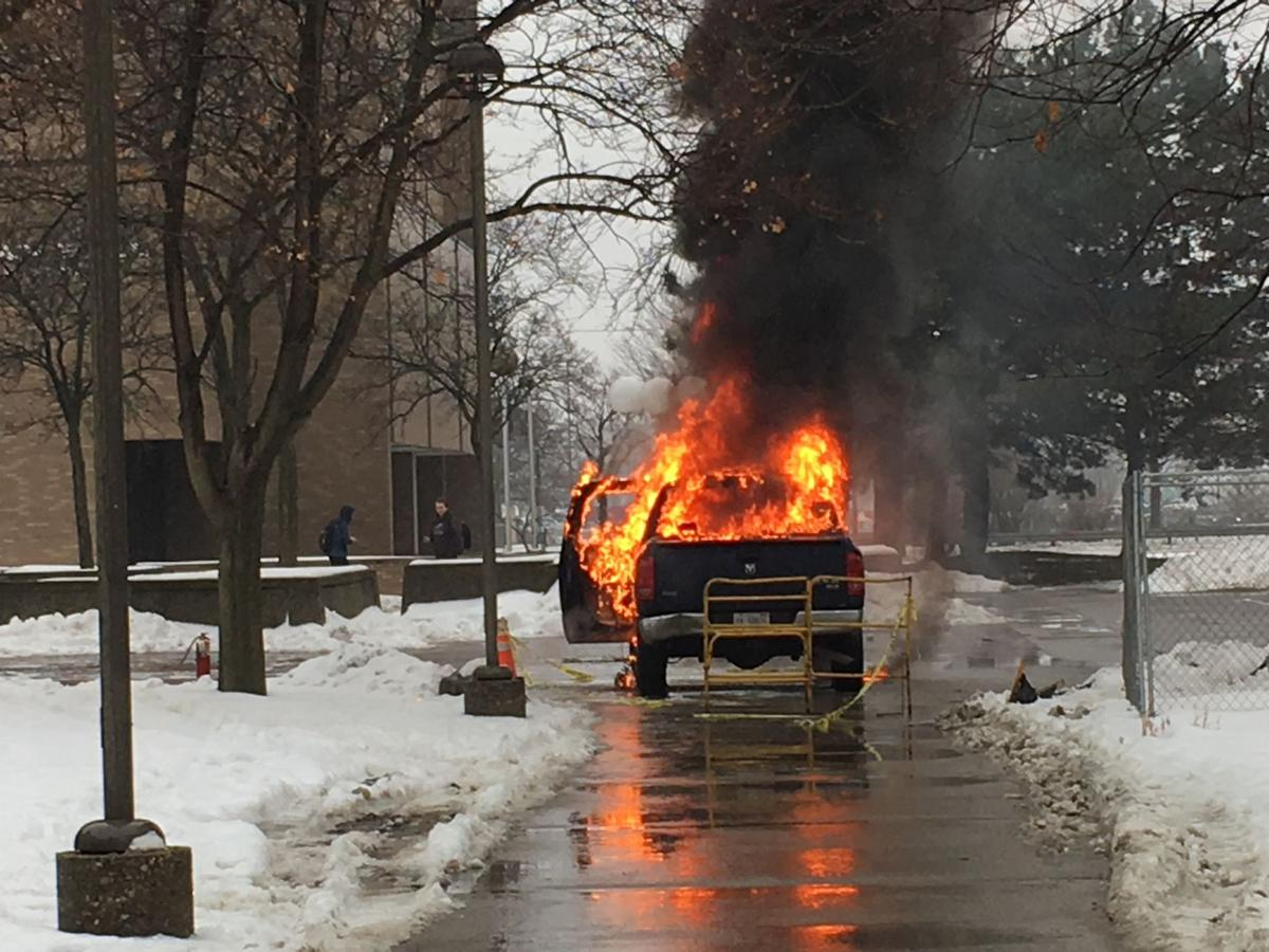 According to a police report, the cause of the fire is unknown, but it is believed to be accidental since the truck belonged to contractors working on construction and maintenance at Wayne State's campus.