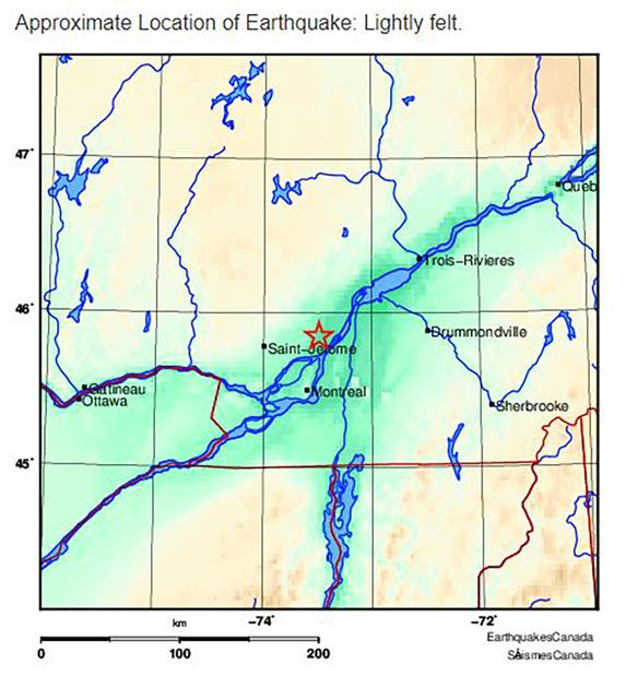 Earthquake rattles southern Quebec
