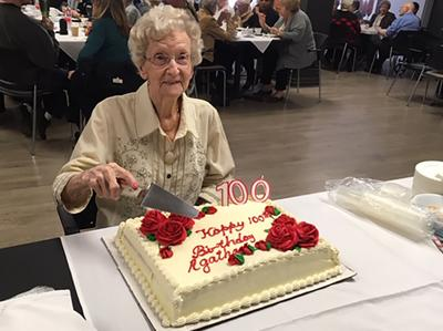 Happy 100th birthday to Agatha Frenette at Le Cambridge