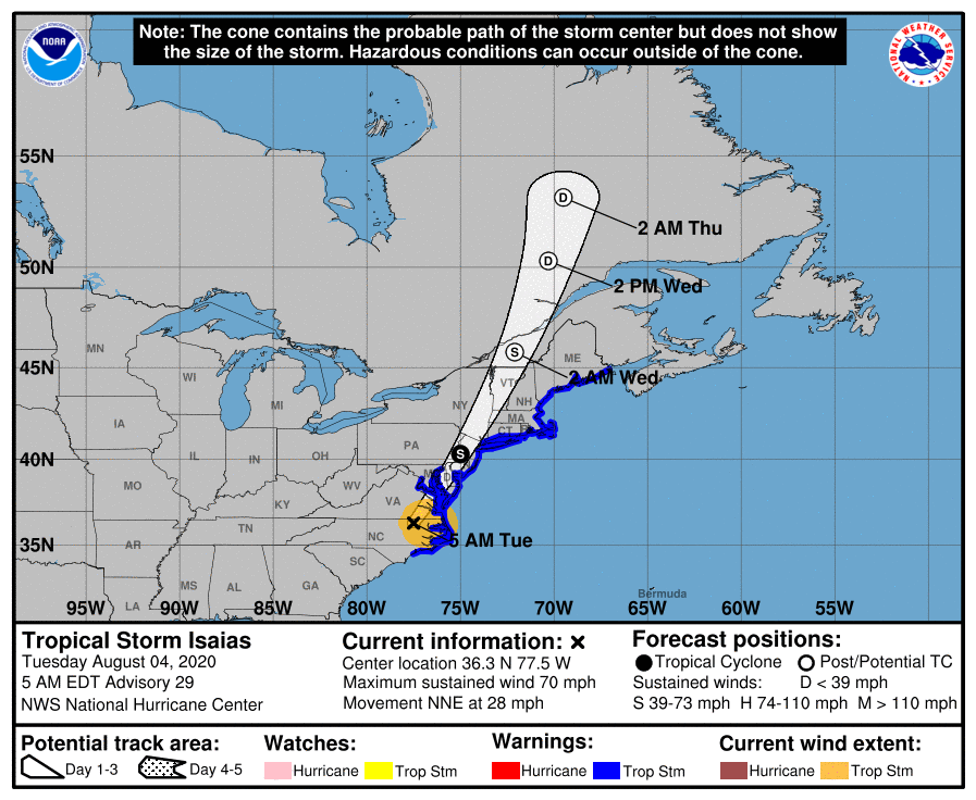 Tropical Storm Isaias to move from the Carolinas to Quebec