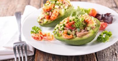 Healthy Living With TAU: Tomato avocado and shrimp salad
