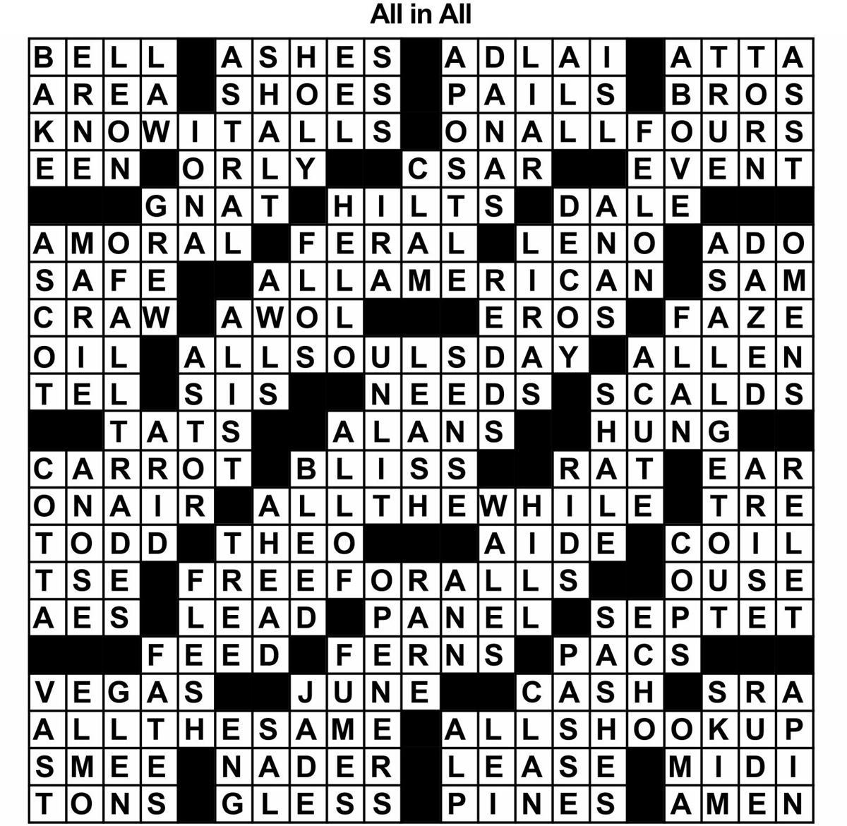 All In Crossword Solution