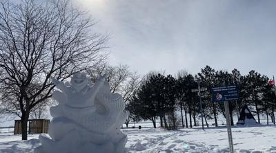 Jet the Dorval mascot sculpted in snow in five Dorval locations