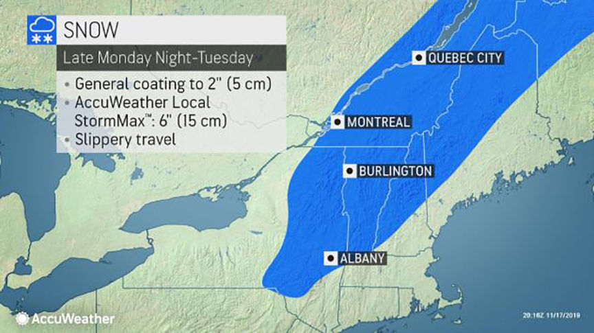 More wintry precipitation for southern Quebec