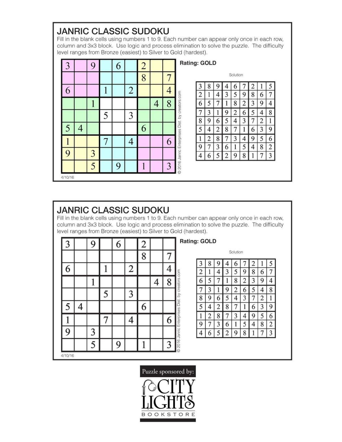 Sudoku - April 14, 2016 | Sudoku | thesylvaherald com