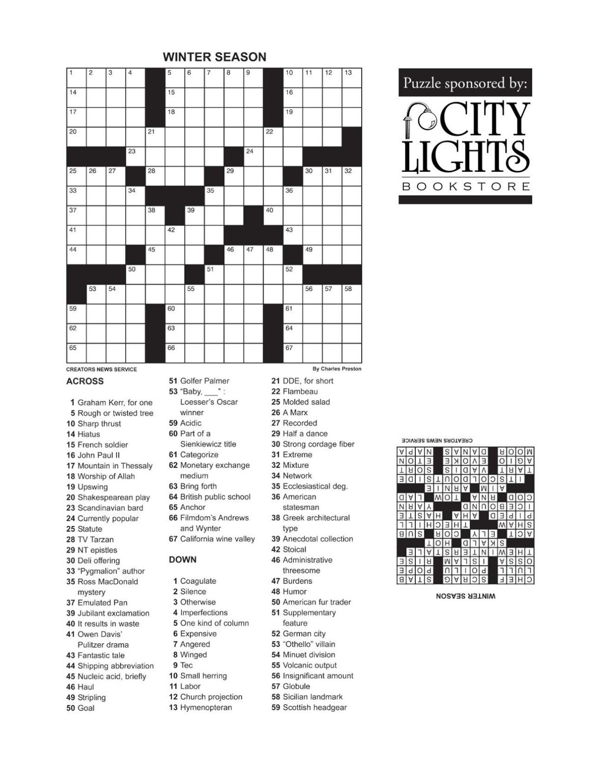 Crossword - May 5, 2016