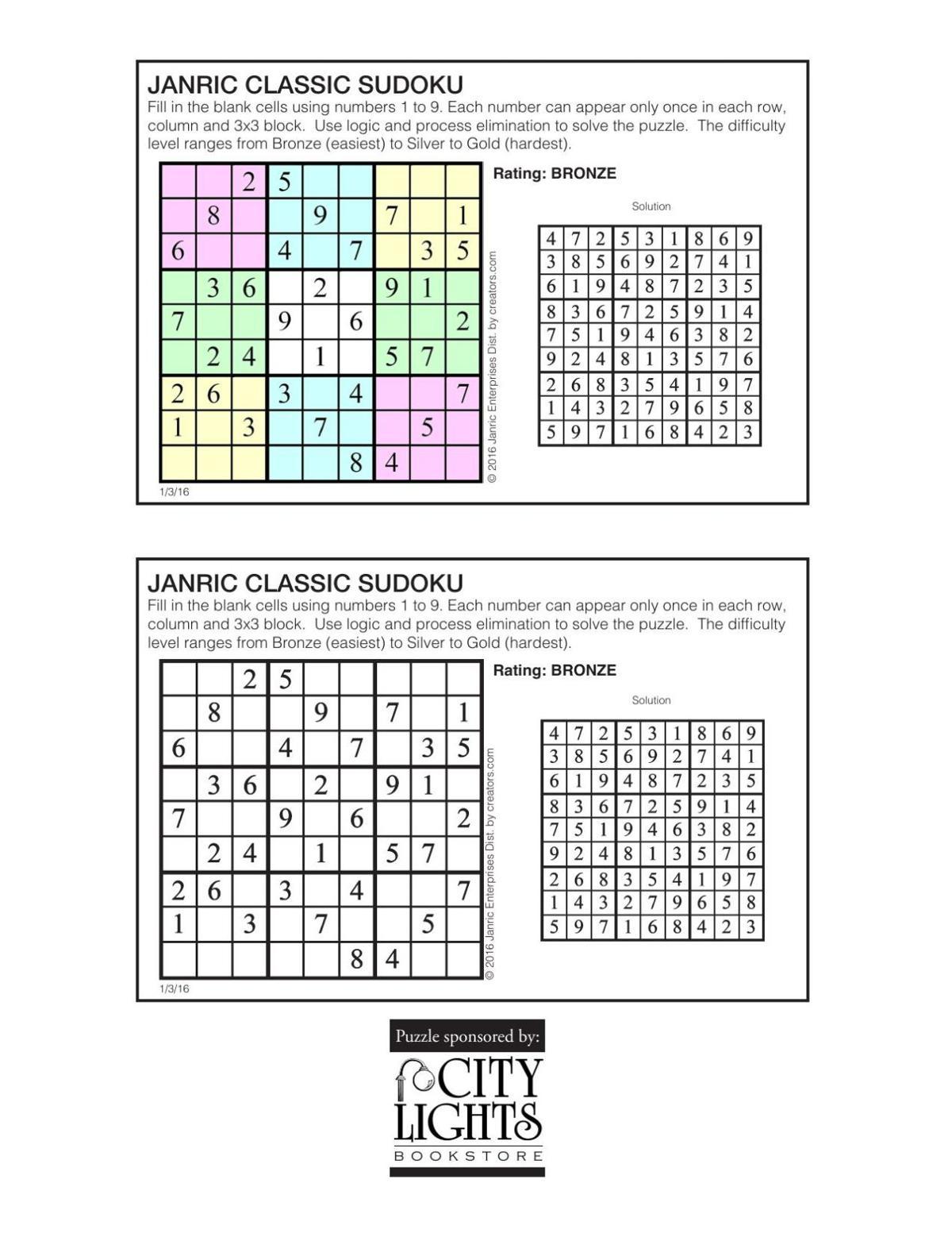 Sudoku - Jan. 7, 2016