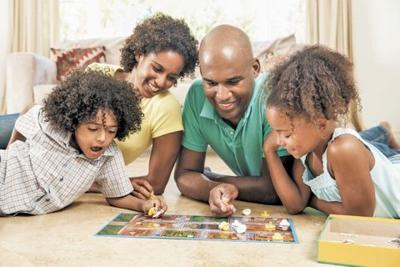 family playing game