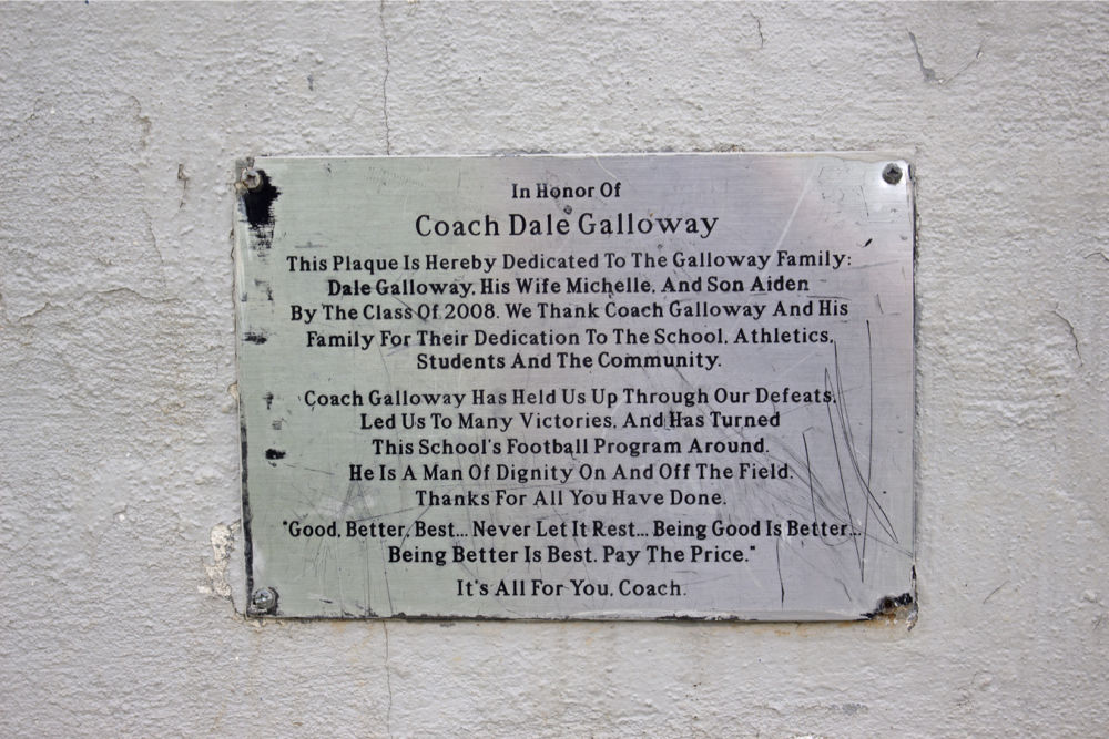 Plaque honoring Dale Galloway