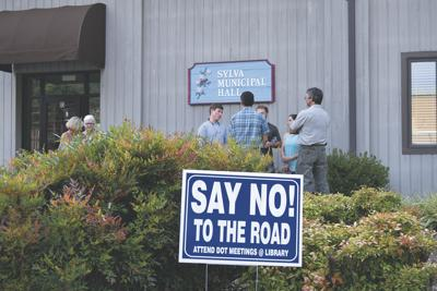 Say no to the Road sign Sylva town hall