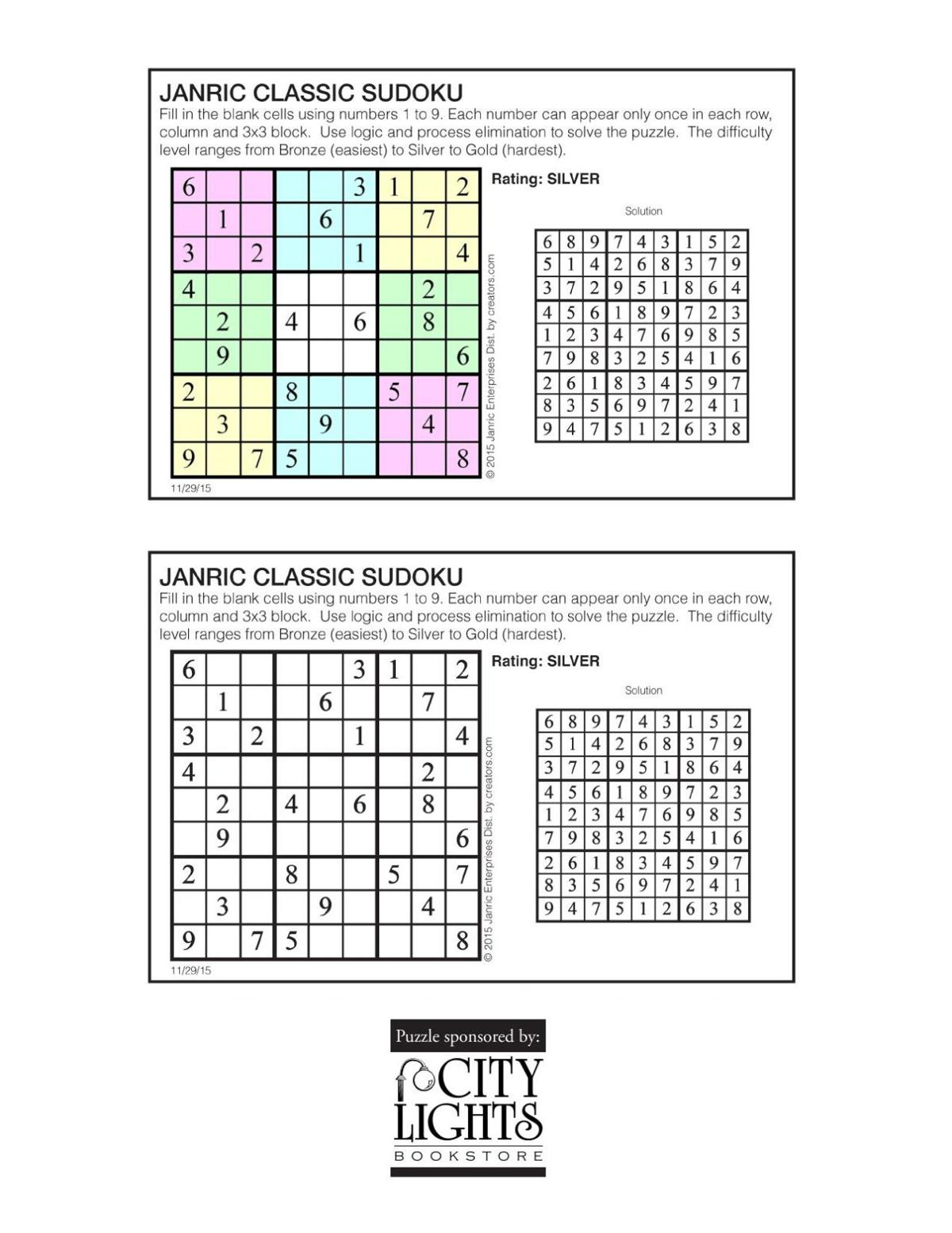 Sudoku - Dec. 3, 2015
