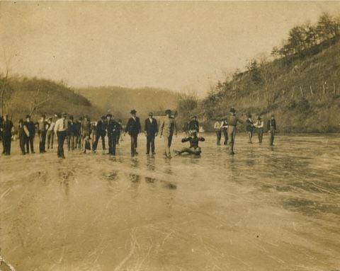 Ice skating on Scotts Creek