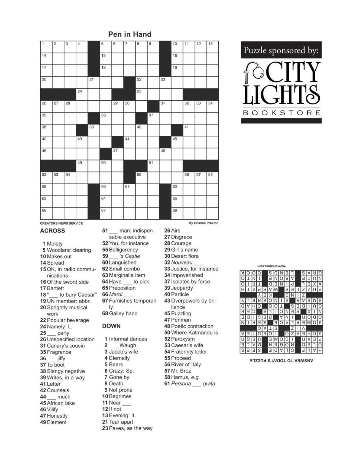 Crossword - April 7, 2016