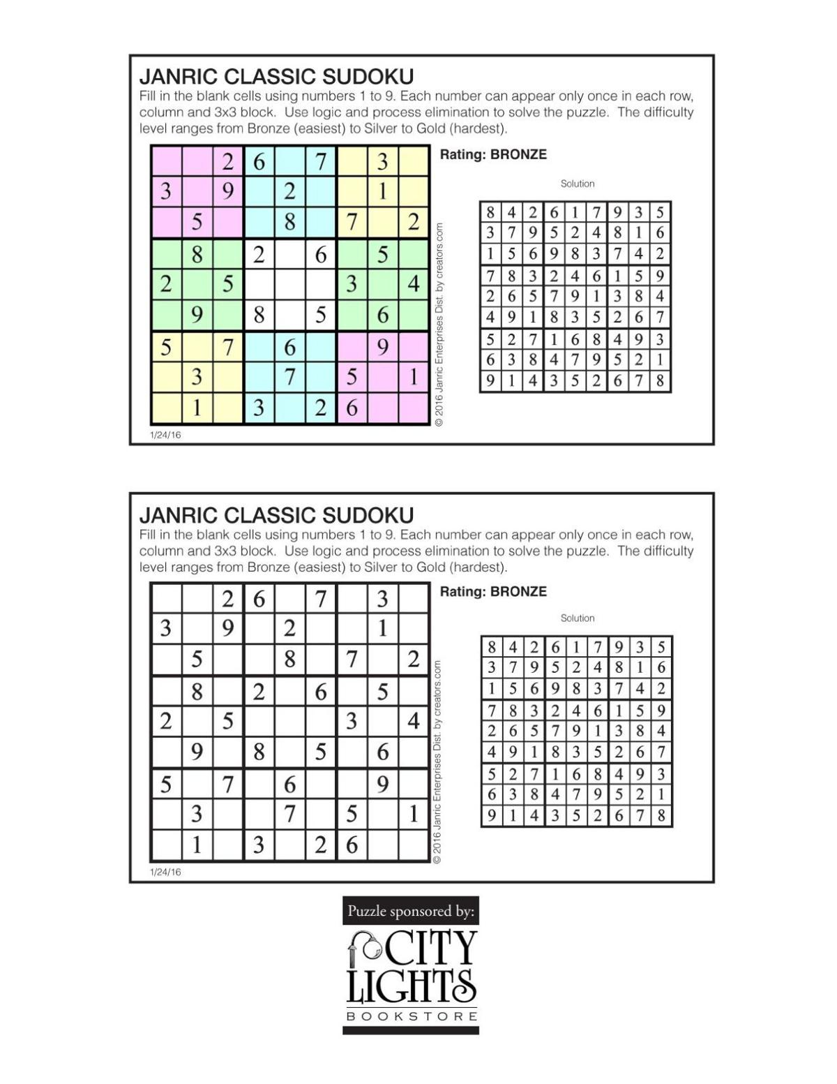 Sudoku - Jan. 28, 2016