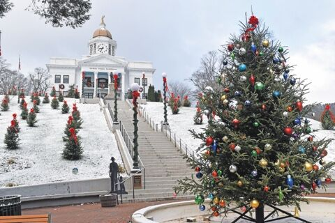 courthouse hill snow sylva christmas tree