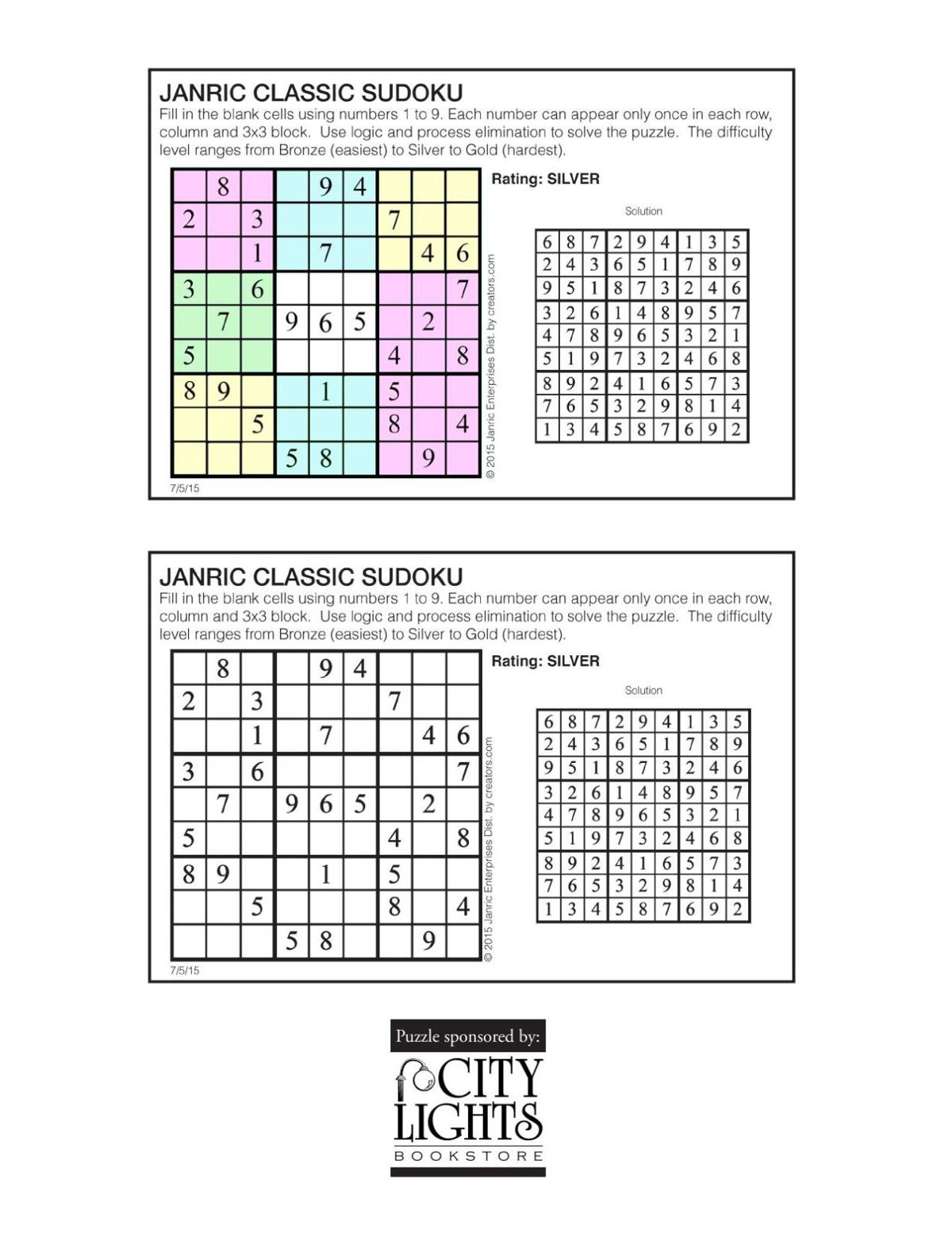 Sudoku - July 9, 2015