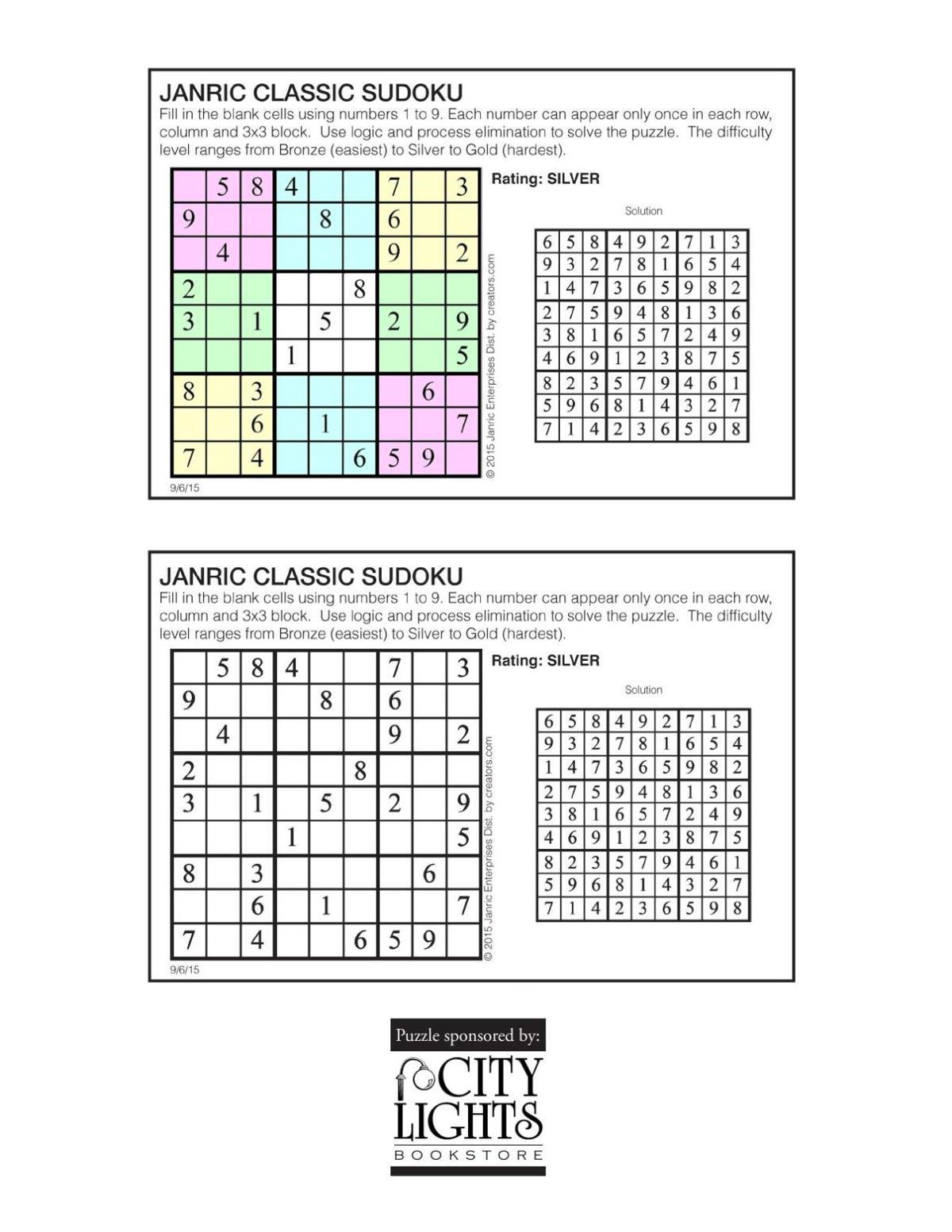 Sudoku - Sept. 10, 2015