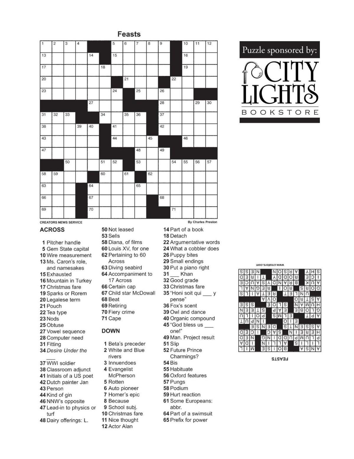 Crossword - March 10, 2016