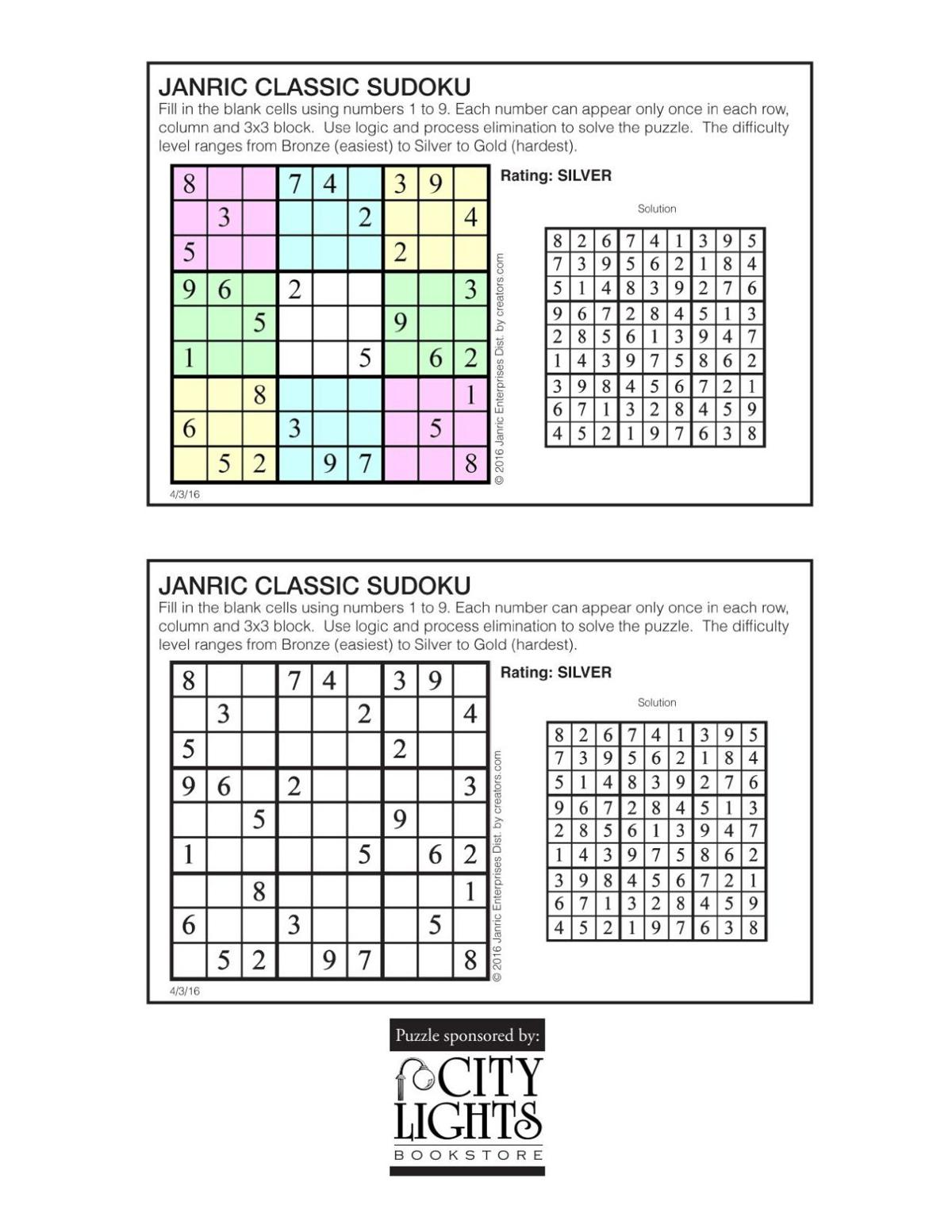 Sudoku - April 7, 2016